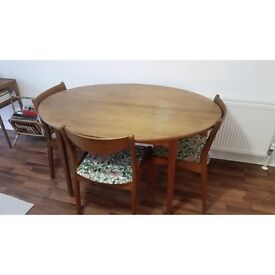 Vintage Danish Expandable Teak Dining Table with 3 Matching Chairs