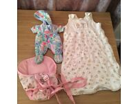 Dolls sleeping bag, carrier and outdoor suit