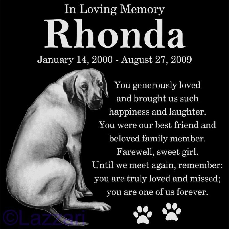 Personalized Rhodesian Ridgeback Dog Pet Memorial 12x12 Granite Grave Marker