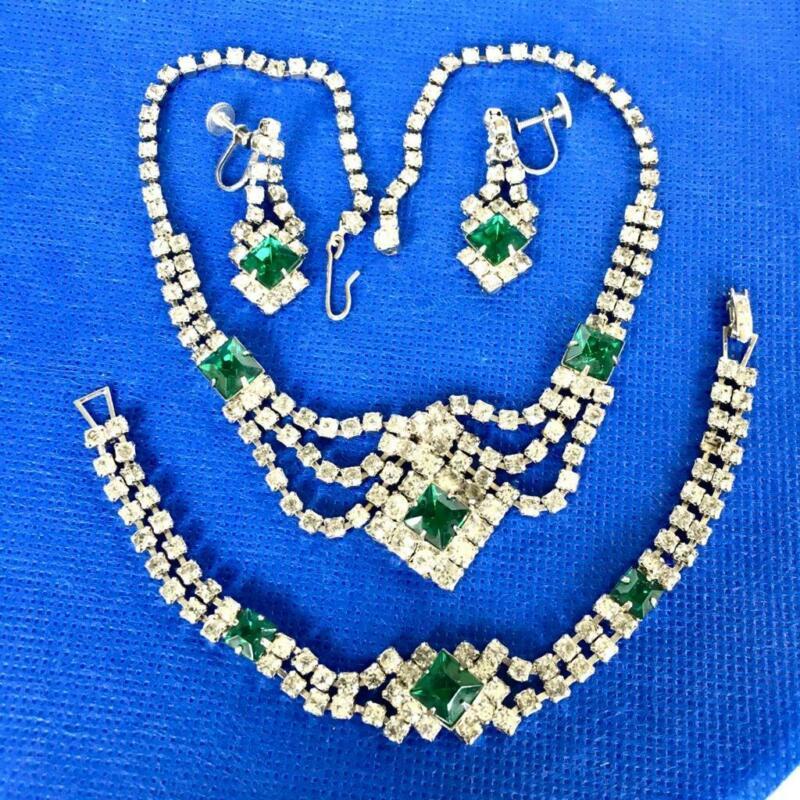 Vtg. Full Parure Clear & Green Rhinestone Necklace, Bracelet & Screw Back Earrin