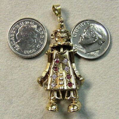 9 ct gold second hand  movable stone clown