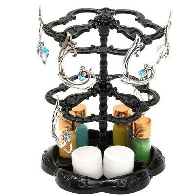 Rotating Black Earring Display Stand Holder with 72 Earring Holes, Plastic