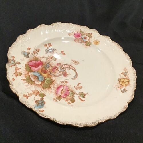 "Antique SF & Co Crown Devon Stoke On Trent England Rose Floral Plate 9"""