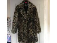 Missguided leopard print fur coat size 8
