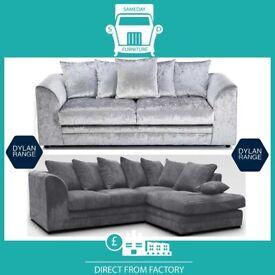📹New 2 Seater £169 3S £195 3+2 £295 Corner Sofa £295-Crushed Velvet Jumbo Cord Brand ⫫U8