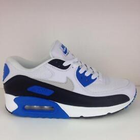 Nike air max 90 White/Black/Blue Available All Sizes