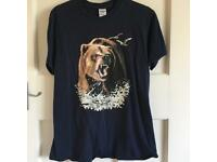 Navy Blue Grizzly Bear T Shirt