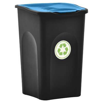 vidaXL Trash Bin with Hinged Lid 50L Black and Blue Household Garbage Can