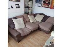 4 seater fabric brown corner sofa.