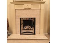 Flavel Linear Pebble Fuel Effect Gas Fire and wooden surround with marble insert