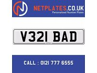 'V321 BAD' Personalised Number Plate Audi BMW Ford Golf Mercedes VW Kia Vauxhall Caravan van 4x4