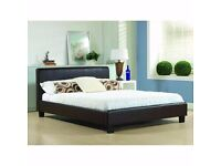 """❤Leather Bed + Semi Ortho Mattress £119❤Brand New Double / King Leather Bed w 9"""" Deep Quilt Mattress"""