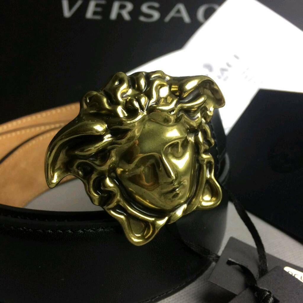db9557bd5 Matte gold buckle statement smart smooth sued inner mens belt hide versace