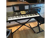 Yamaha Digital Keyboard with Stand and Stool
