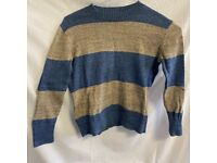 Blue and Grey Knitted Jumper