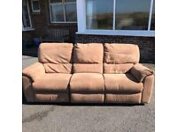Suede effect micro fibre reclining sofa and two reclining chairs