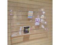 Slate wall Perspex card display racks