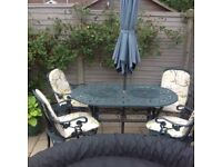 Garden Table and Chairs with seat pads
