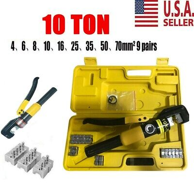 Hydraulic Wire Battery Cable Lug Terminal Crimper Crimping Tool 10 Ton 9 Dies Us