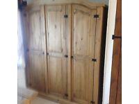 Triple antique pine wardrobe