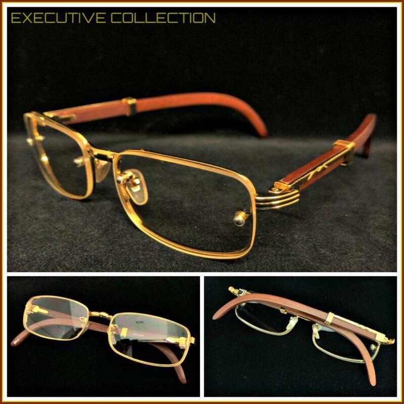 Men Sophisticated CLASSY ELEGANT Clear Lens EYE GLASSES Gold & Wood Wooden Frame