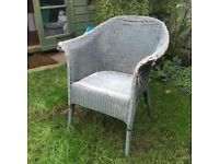 Blue grey Lloyd loom chair needing refurb - good for use inside or out