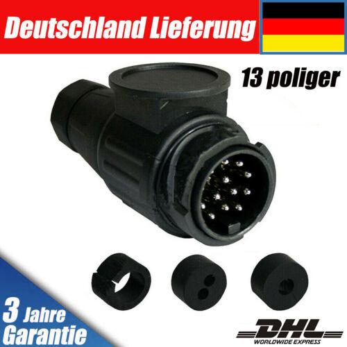 7 Poliger Auto Anhängerstecker KFZ PKW Wohnmobil 13pol 12V Stecker Schwarz