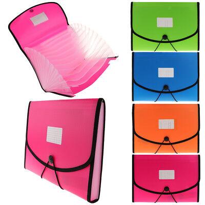 13 Pocket Plastic Expanding File Folder Document Paper Storage Organizer Bag