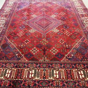 Joshaghan Semi-Antique Persian Rug, Handmade Carpet, Wool, Red, Beige, Blue, Orange and Navy Blue Size: 10.9 X 7.7 ft