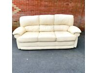 Good Condition 3 Seater Cream Leather Sofa - NEED TO BE GONE BY Sunday( delivery free )