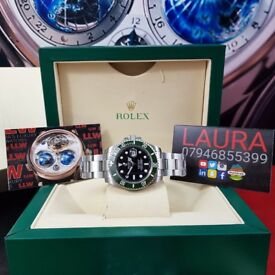 Complete Package silver strap black face green ceramic bezel Rolex submariner automatic sweeping.