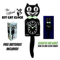 GLOW IN THE DARK KIT CAT CLOCK 15.5 Classic Black Free Battery Made in the USA