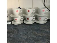 6 Illy Cappuccino Cups and Saucers
