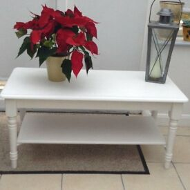 Coffee table, Long John style. Painted in Cotton White Laura Ashley paint & waxed.
