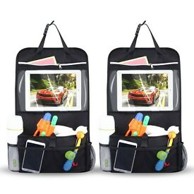 2 Pack Car Back Seat Organiser Multi-Pocket Travel Storage With Touch Screen iPad Holder