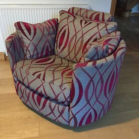Fama Moon Armchair - Grey / Cerise, swivel, recline, rocker