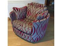 Fama Moon Armchair - Grey / Cerise, swivel, recline, rocker