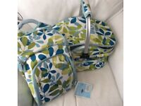 BNWT FROM DOBBIES - INSULATED PICNIC BASKET AND MATCHING RUCKSACK WITH PLATES, CUTLERY ETC