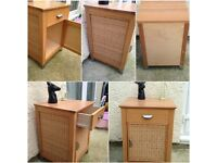 bedside table cabinet oak effect and colour rattan front and sides very diffrent