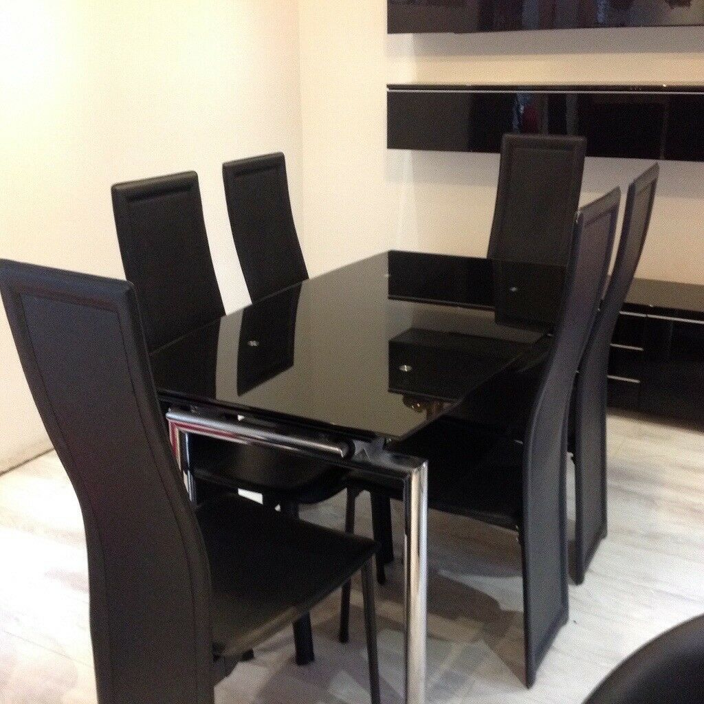 Black Glass Extendable Dining Table With Chrome Legs And 6 Black Faux
