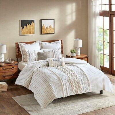 King/Cal King Imani Cotton Comforter Mini Set, Mid-Century Modern White INK+IVY Cotton Comforter Mini Set