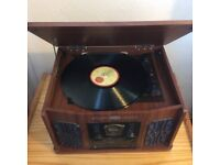 Record / cd / tape / radio player with stand