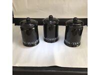 SET OF THREE BLACK GLOSS TEA /COFFEE/SUGAR JARS