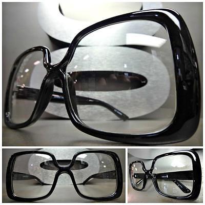 OVERSIZED VINTAGE RETRO Style Clear Lens EYE GLASSES Square Black Fashion Frame