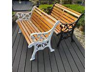 "Garden Benches Refurbished ""Fleur de Leys"" Design"