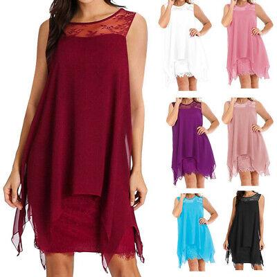 Fashion Women Summer Chiffon Overlay Sleeveless Casual Lace Dress Oversize S-5XL (Fashion Women Casual Chiffon)
