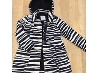 Girls Next zebra shower proof, fleece lined coat, age 5-6, immaculate