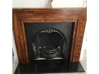 Fireplace Cast Iron complete with Solid Wood Mantle