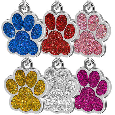 Glitter Paw Print Pet ID Tag Dog Cat Animal Personalized Shelter Identification
