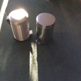 BINS, TWO, CHROME, HARDLY USED, CLEAN, COLLECT HYTHE KENT AREA.